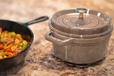 Staub Gray Cocotte and Lodge Cast Iron Pan