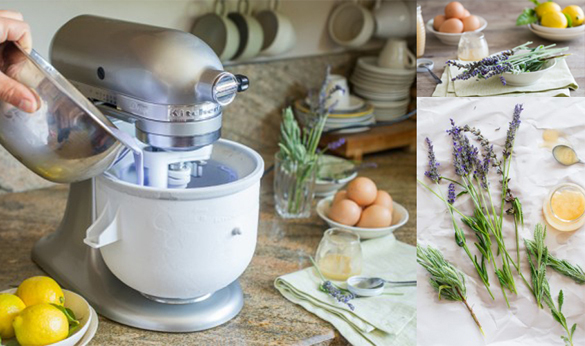 KitchenAid with Ice cream attachment and lavender flowers