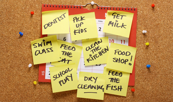 Plans written on sticky notes